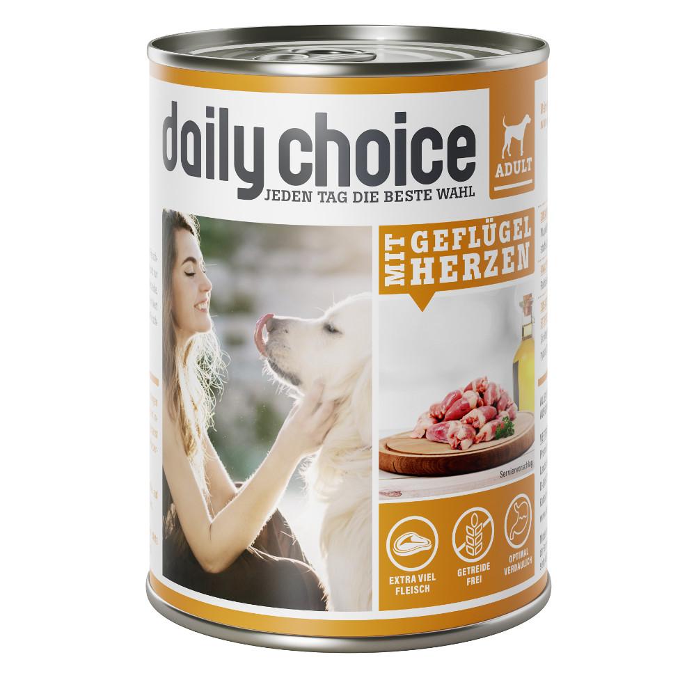 daily choice Hund Nassfutter mit Geflügelherzen