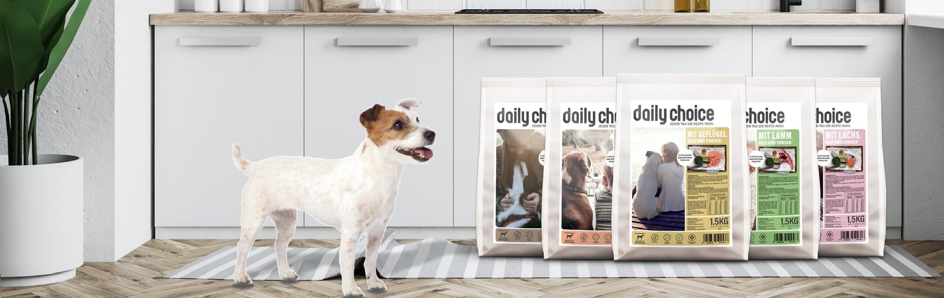 Weizenfreies Trockenfutter für Hunde von daily choice